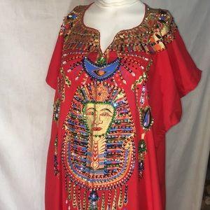 Handmade in Egypt beaded long red dress